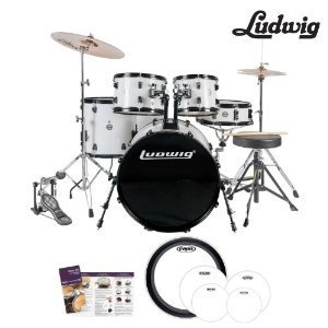 Ludwig-Accent-Fuse-5-Pc-Drum-Set-LC1708-White-Finish-Includes-Hardware-Throne-Pedal-Cymbals-Sticks-Drumheads-0