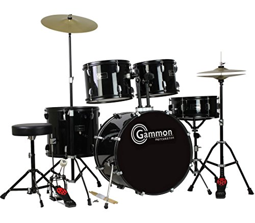 New-Drum-Set-Black-5-Piece-Complete-Full-Size-with-Cymbals-Stands-Stool-Sticks-0-6
